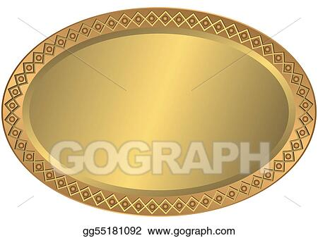 Vector illustration oval metal golden and bronze plate stock