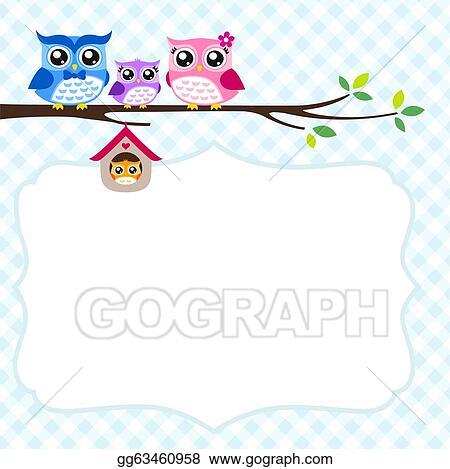 Eps illustration owl family spring invitation card vector clipart owl family spring invitation card stopboris Choice Image