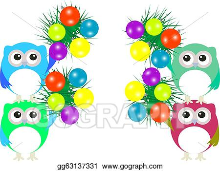 owl family with christmas balls and fir new year concept
