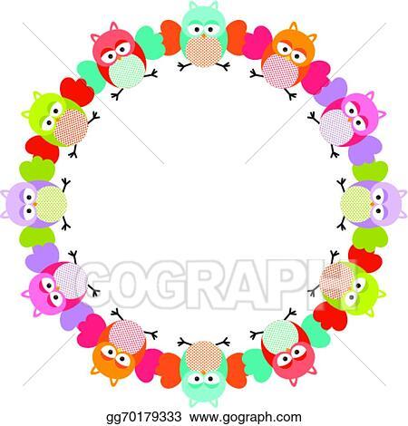 Vector Illustration - Owl round frame. Stock Clip Art gg70179333 ...