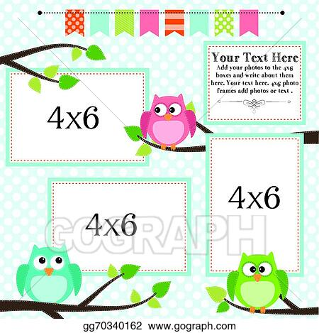 Clip Art Vector Owl Scrapbooking Template With Banner Or Bunting Stock Eps Gg70340162 Gograph