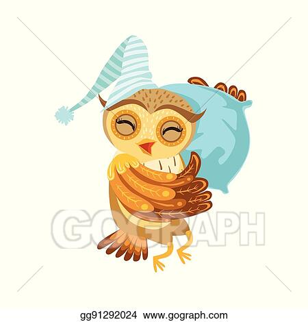 Vector Illustration - Owl sleeping cute cartoon character