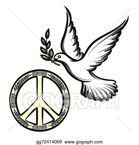 Vector Illustration Pacific And The Dove Of Peace Stock Clip Art