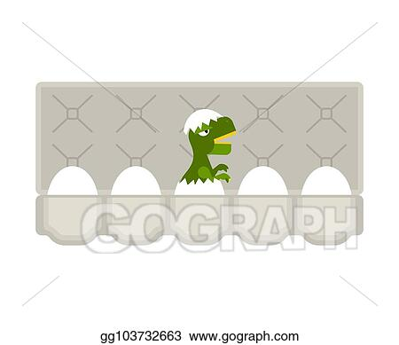 Vector Stock - Packing eggs hatched dragon isolated  vector