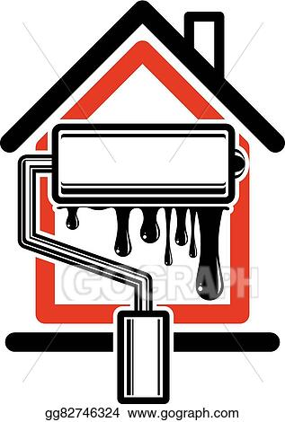Vector Clipart Paint Roller Icon Build Materials For Wall