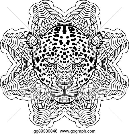 Painted The Leopard On Background Tribal Mandala Patterns Zendoodle
