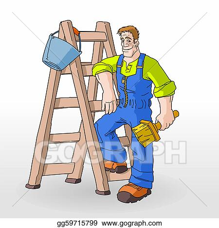 Vector Illustration   Ladder Ready To Be Used For Painting Of A Room. Stock Clip  Art Gg59715799