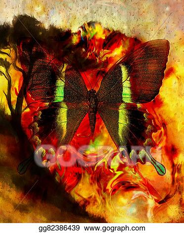 Stock Illustrations Painting Butterfly And Tree Wallpaper Landscape Color Collage And Abstract Grunge Background With Spots Orange Yellow And Black Color Stock Clipart Gg82386439 Gograph