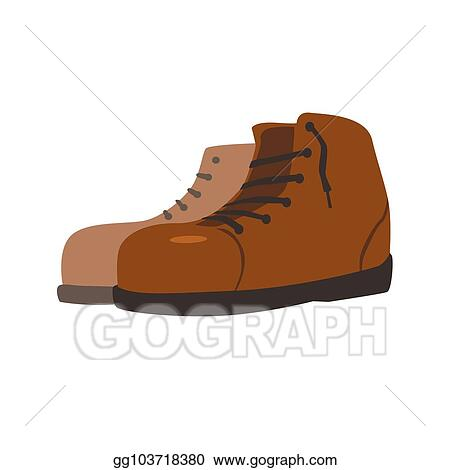 Vector Art Pair Of Hiking Boots Vector Illustration Isolated On