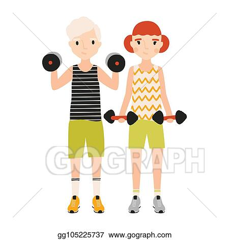 Vector Clipart Pair Of Kids Dressed In Sportswear Doing Exercise With Barbells Isolated On White Background Sports Activity Strength Or Power Training For Children Flat Cartoon Colorful Vector Illustration Vector Illustration