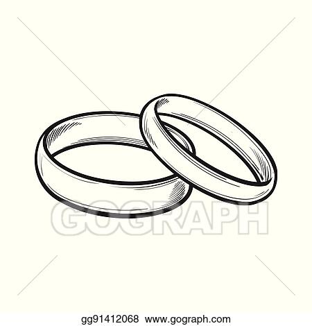 Wedding Ring Clipart.Vector Art Pair Of Traditional Wedding Rings For Bride And Groom