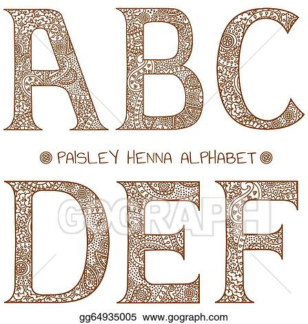 Vector Art Paisley Henna Alphabet A B C D E F Clipart Drawing