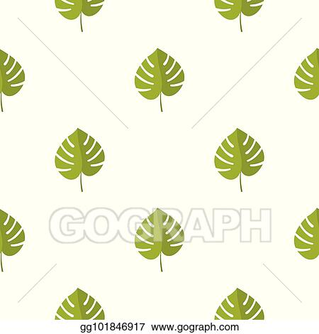 Vector Illustration Palm Leaf Pattern Seamless Stock Clip