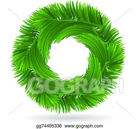 Clip Art Vector Palm Tree Leafs Circle Shape Logo Stock Eps