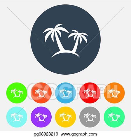 Vector Illustration Palm Tree Sign Icon Travel Trip Symbol Stock