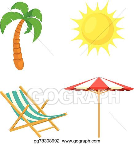 Palm Tree Sun Umbrella Deck Chair