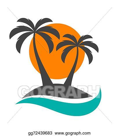 clip art vector palm trees sun and ocean stock eps gg72439683 rh gograph com clipart palm trees sun