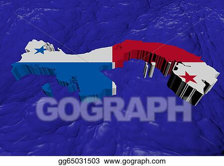 e01529a0 Clipart - Panama map flag in abstract ocean illustration. Stock ...