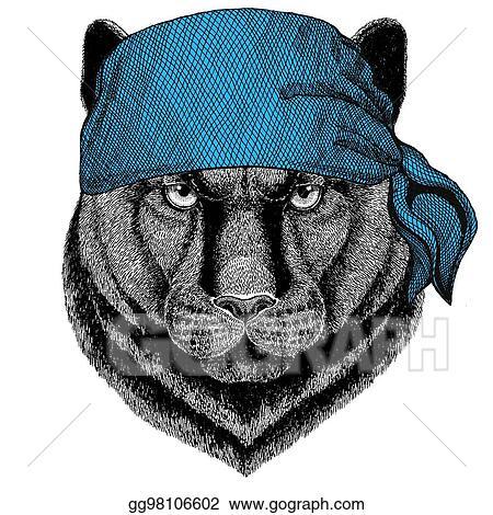 Drawing Panther Puma Cougar Wild Cat Wild Animal Wearing Bandana