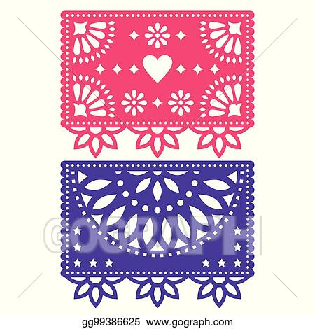 vector stock papel picado vector template design set mexican