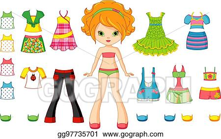 vector stock paper doll clipart illustration gg97735701 gograph rh gograph com paper doll chain clipart free vintage paper doll clipart