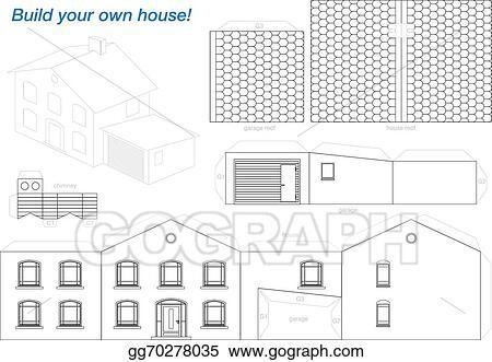 Eps Vector Paper Model House Outline Stock Clipart
