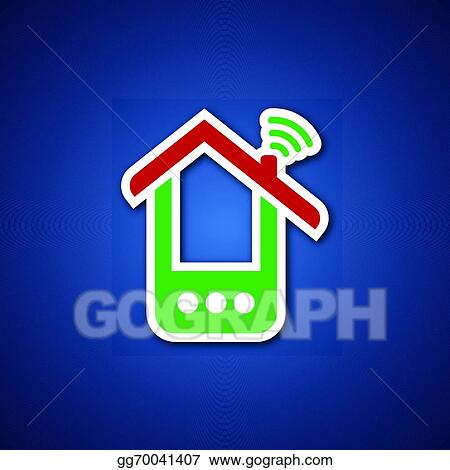 Vector Stock Paper Phone House Over Blue Clipart Illustration
