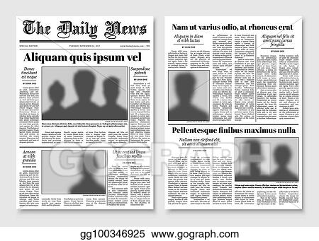 Vector Illustration Paper Tabloid Newspaper Vector Layout