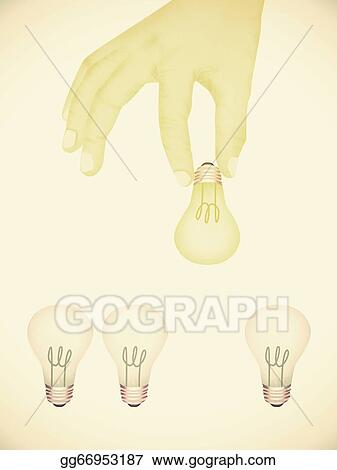 Paper Texture Illustration Of Hand Picking Bright Light Bulb