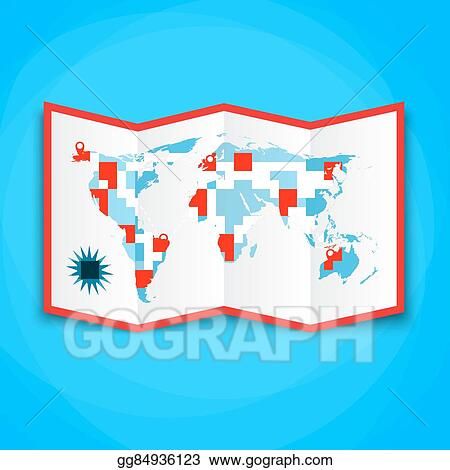 Vector stock paper world map with location icons map icon vector paper world map with location icons map icon vector map vector illustration in flat design on brown background gumiabroncs Gallery