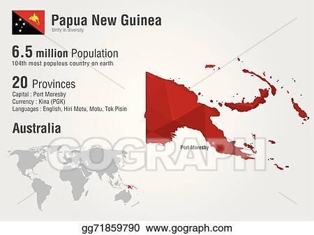 Vector Art - Papua new guinea world map with a pixel diamond ...