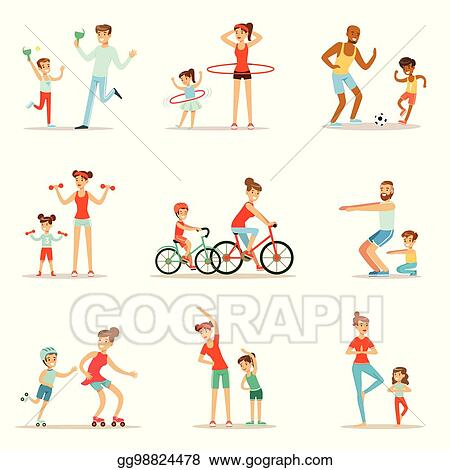 Vector Clipart - Parent and child doing sportive exercises and sport