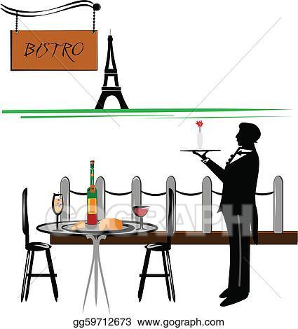 Vector Art Paris Cafe Clipart Drawing Gg GoGraph - Paris cafe table