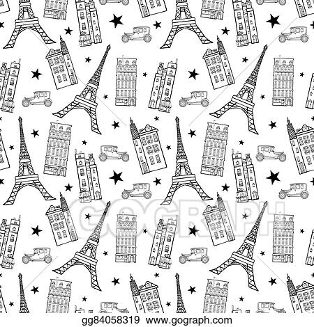 Vector Illustration Paris Streets Black White Drawing
