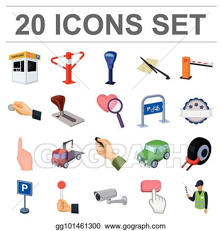 Clip Art Vector Parking For Cars Cartoon Icons In Set Collection