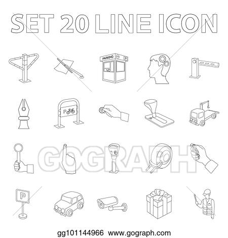 Vector Art Parking For Cars Outline Icons In Set Collection For