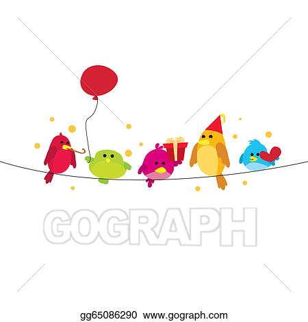 Vector Stock - Party birds on wire. Clipart Illustration gg65086290 ...
