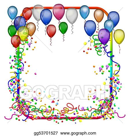 stock illustration party frame with balloons clipart drawing gg53701527 - Drawing Frame