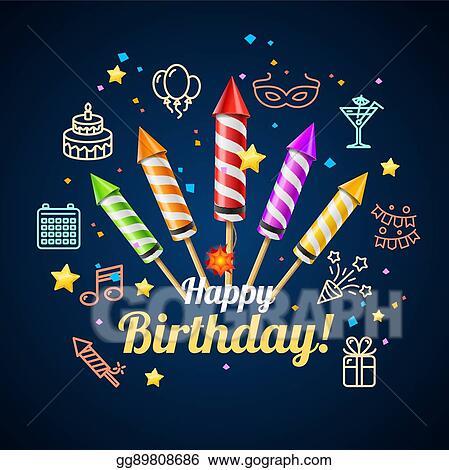 Vector Illustration Party Invitation Birthday Card Vector