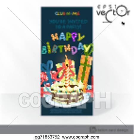Clip Art Vector Party Invitation Card Design Template