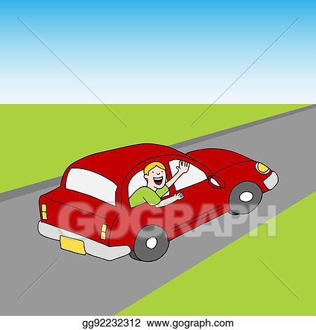 Vector Clipart Passenger Waving Goodbye From Car Road Vector