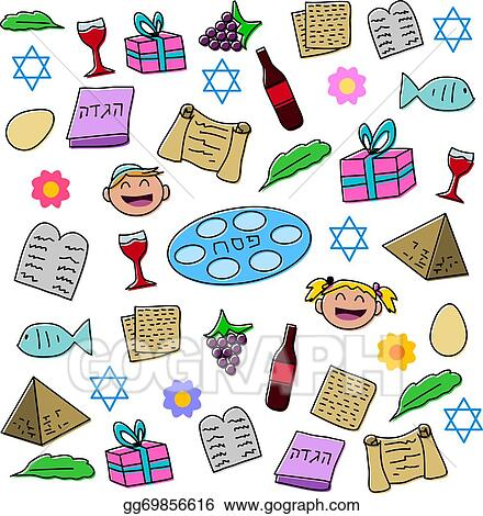 Clip Art Vector Passover Holiday Symbols Pack Stock Eps