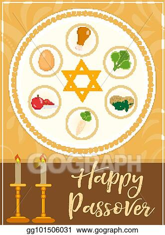 Vector clipart passover poster invitation flyer greeting card passover poster invitation flyer greeting card pesach template for your design with festive seder table kosher food matzah david star m4hsunfo