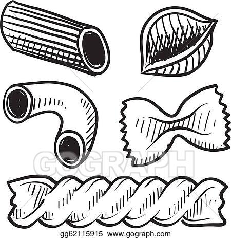 Vector Illustration - Pasta types sketch. EPS Clipart gg62115915 ...