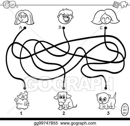 Clip Art Vector Paths Maze With Kids And Pets Coloring Page Stock