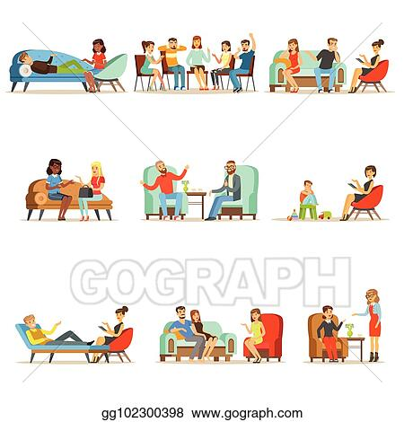 Vector Art Patients At A Reception At The Psychotherapies People