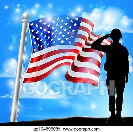 Vector Art - Patriotic soldier salute american flag