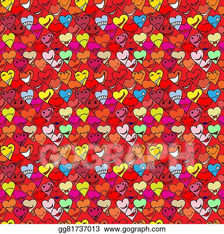 Vector Art Pattern Made From Collection Of Different Heart Symbols