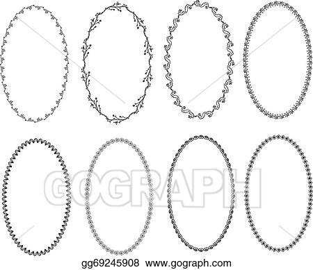 Vector Art - Patterned oval border frames. Clipart Drawing ...