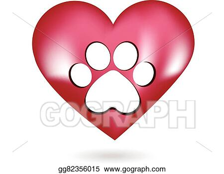 vector stock paw print in a beautiful heart stock clip art rh gograph com Paw Print Drawing Cool Dog Clip Art